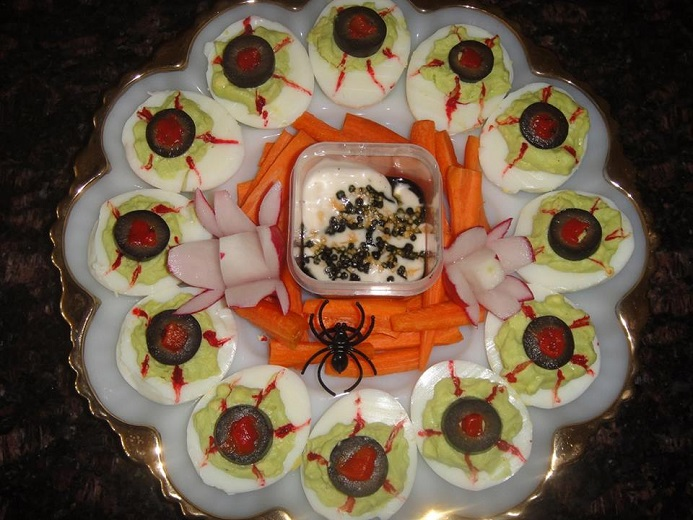 deviled spider eggs use your favorite deviled egg recipe and decorate with cut black olives cut extra large pitted black olive in half and put half down - Deviled Eggs For Halloween Spider